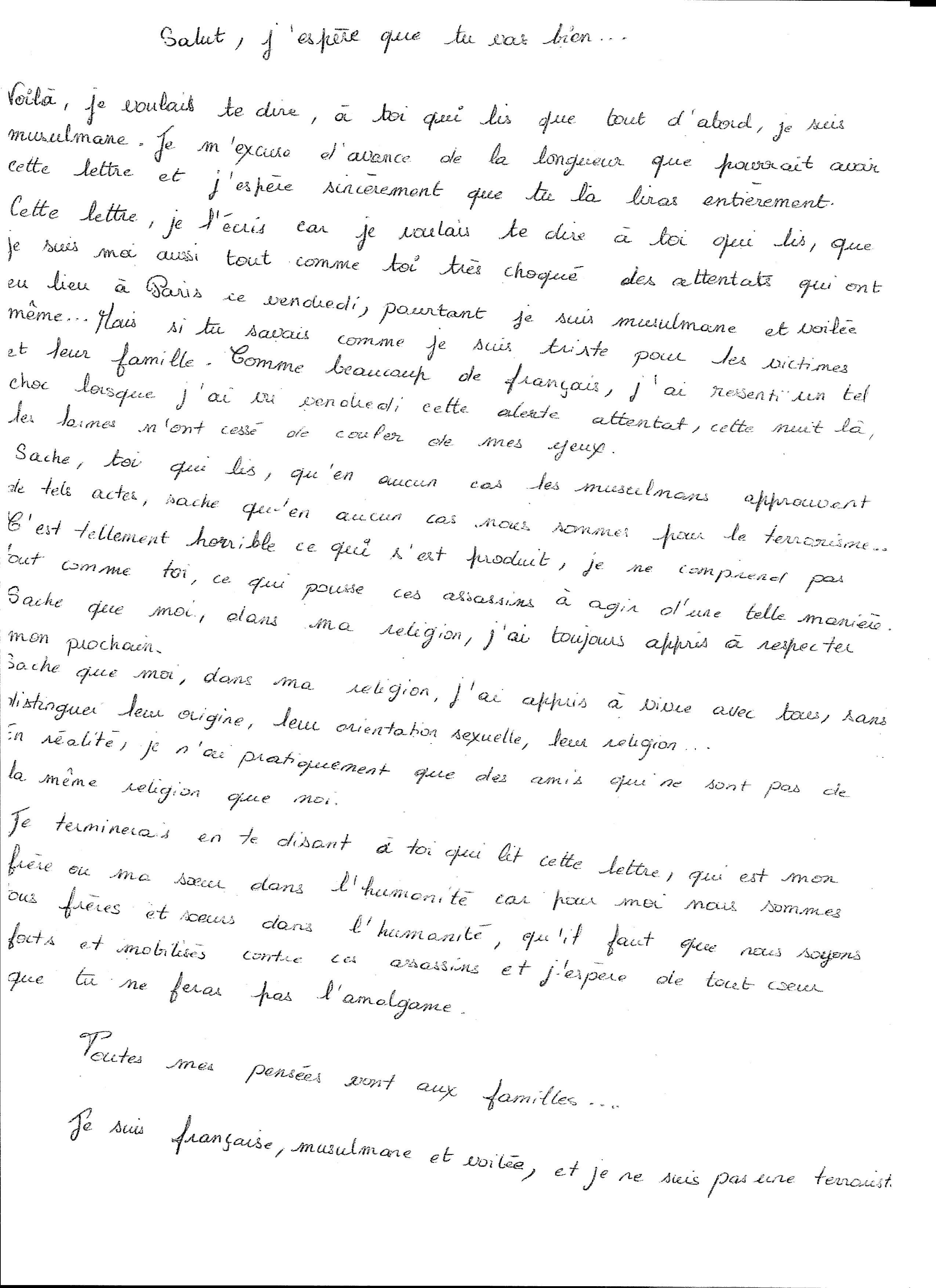 Lettre Ouverte de la part d'une anonyme