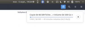 Progression des fichiers en cours de copie